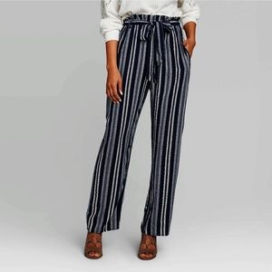 Xhilaration Black Stripe Wide Leg Pants w/Pockets